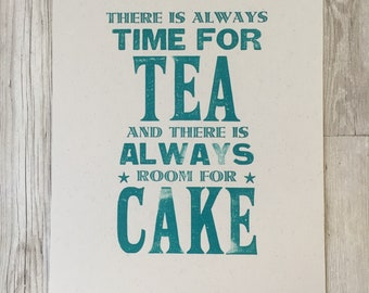 Time for Tea, Room for Cake -  Kitchen Art - Ochre - Letterpress print - Typography - Print - Wall Art - Poster-GBBO - gift for foodies