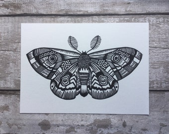 Moth - Moth Print - Moth art - tattoo art  - Linocut  - Animal Art - Nature lover - Lino print  - Insect  - Gold - gift for lepidopterist