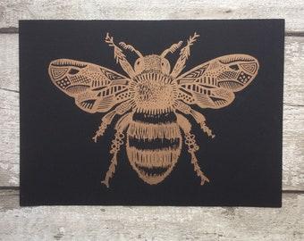 Honey Bee - Honey Bee print - Bee art - Bee linoprint - gift for nature lover - tattoo art  - Linocut  - gift for beekeeper - Nature art