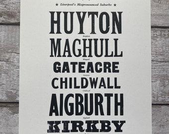 Liverpool print / Original Letterpress / Liverpool Place names / Housewarming gift /