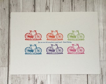 Bicycle Print - bike art - Rainbow colour - Letterpress  Print - Cycling Print  - Gift for Cyclist - Print for Cyclist - bicycle quote