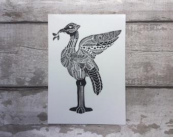 Liver Bird - Liverbird Linocut - liverpool - Liverpool art