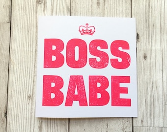 Boss Babe / Birthday Card / card for girlfriend / Liverpool Card / Letterpress / Card for Scouser / card for boyfriend / girl boss