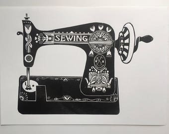 Sewing Machine - Linocut print - Mothers Day  - Present for Sewer - Craft Room Art - Vintage Sewing Machine - Sewing gift