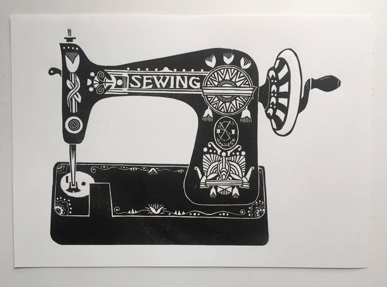 Sewing Machine  Linocut print  Mothers Day   Present for image 0