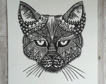 Cat / linoprint / Cat art / Cat Print / Cat lover / Feline art / Original Print / gift for cat owner