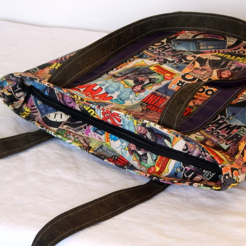 zippered interior pocket extra long straps Dr Who Large zippered tote bag fully lined