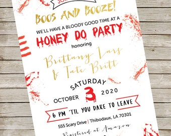 Bloody Gory Honeydo Party Invitation ~ Boos and Booze Digital Invite ~ Bloody Gory Scary Halloween Couples Shower Printable File