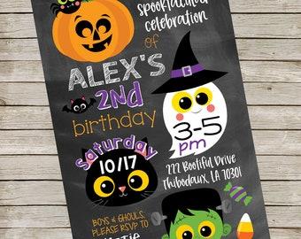Halloween Birthday Party Invitation ~ Cute Pumpkin Cat Ghost Monster ~ Chalkboard Costume Party Invitation Digital File ~ Kiddie Halloween
