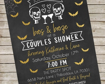 Halloween Boos and Booze Invitation ~ Couples Shower ~ Chalkboard Skeleton Bridal Shower Invitation Digital File ~ Honeydo party