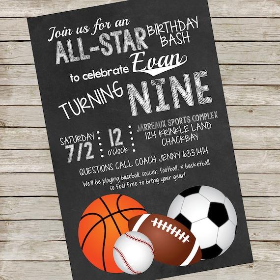 Sports Party Invitation All Star Party Printables Basketball Party Baseball Party Football Party Invitation