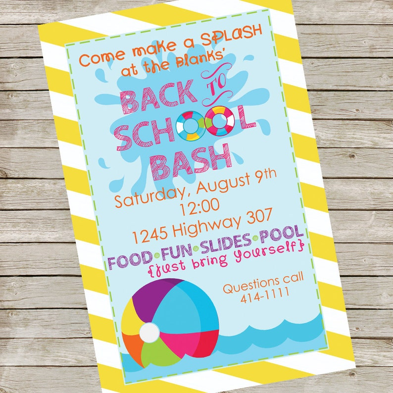 Pool Party Invitation PIY file  Back to School Party image 0