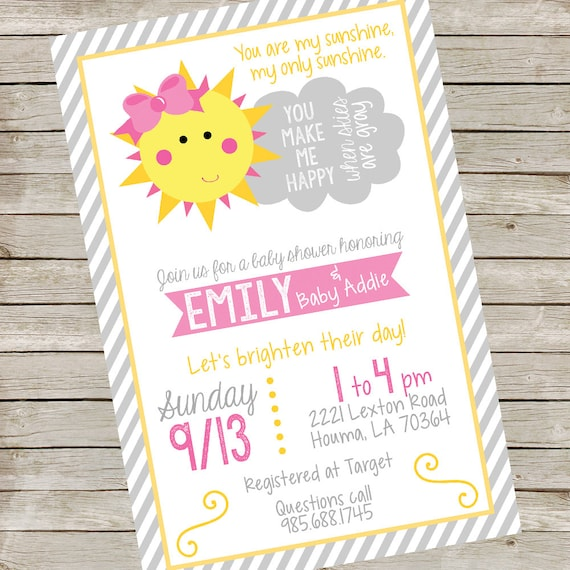 Printable Digital File You Are My Sunshine Baby Shower Invitation for Girls