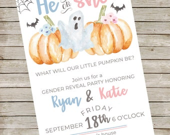 Watercolor Ghost Gender Reveal Party Invitation ~ Baby Shower Digital Invite ~ Halloween Party Printable File ~ Bridal Shower ~ Birthday
