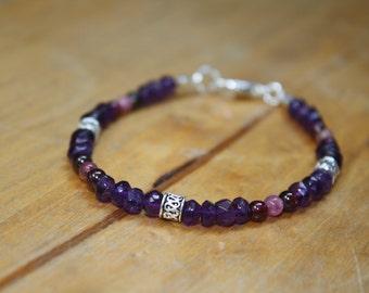 Amethyst Garnet and Tourmaline sparkly bracelet