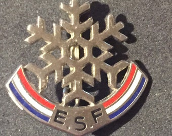 Old badge pin star snowflake ESF sky without stars