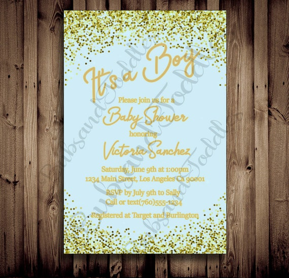 it s a boy baby shower invitations with envelopes sparkle etsy
