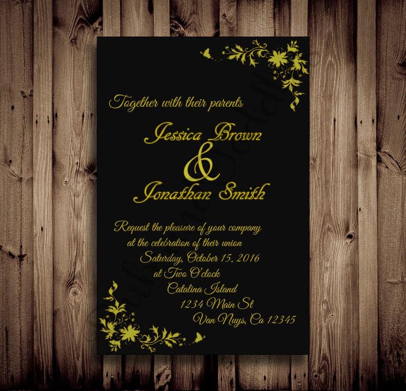 Custom Black And Gold Invites Formal Ball Wedding Etsy