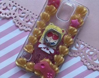 Decoden Glitter Waterfall Sailor Moon Grip Ring Case Samsung Galaxy S5