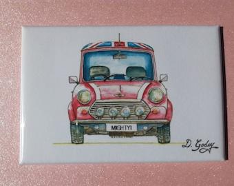 Original Fridge Magnet Of a Classic Red Mini