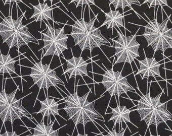 Trick or Treat, Penny Rose Fabrics, Spider Web Collage, Black and White, Cotton Fabric, Handmade Halloween, Spooky Fun, By The Yard