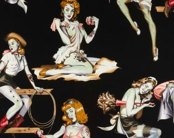 Beauties and Brains, Black 8431D, Alexander Henry Fabric, Zombie Pin Up Girls, Halloween Fabric, Bloody Brains, By The Yard