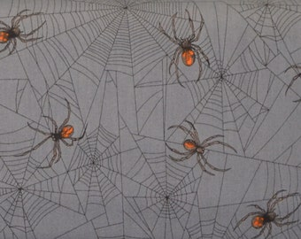 A Tangled Web, Alexander Henry, Charcoal, Realistic Spiders, Cotton Fabric, By The Yard, Goth Punk Horror, Haunted House