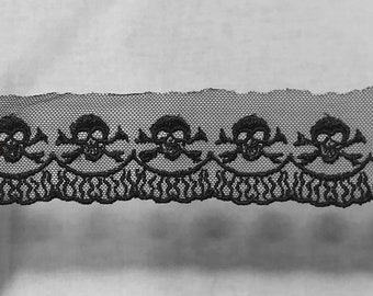 1 Yard 1.5 Inch Wide Skull and Crossbones Black Lace Trim, Flame Scalloped Edge Detail, Goth Punk Halloween Trim