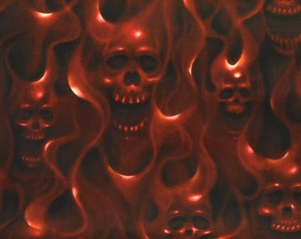 Skulls on Fire 6557C, Alexander Henry Fabric, Red and Black, Goth Punk Rock, Cotton Fabric, By The Yard