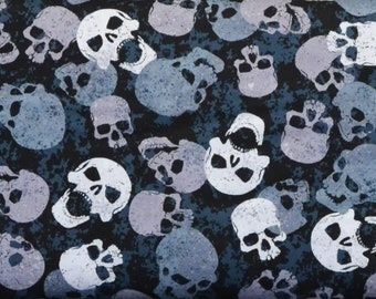 Wicked Skull Black, Timeless Treasures, Skull Fabric, Blue Gray, Scattered Skull Toss, Halloween, Goth Punk, By The Yard, Cotton Fabric