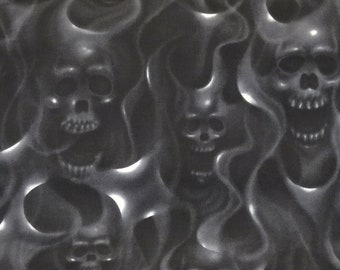 Skulls on Fire 6557B, Alexander Henry Fabric, Black and White, Goth Punk Rock, Cotton Fabric, By The Yard