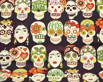 Gotas de Amor, Alexander Henry, Dark Eggplant, Sugar Skulls, Day of the Dead, Die de los Muertos, By The Yard
