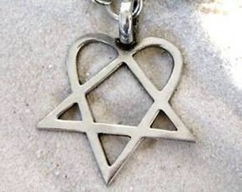 Heartagram Keychain HIM Pewter Key Ring (317-KC)