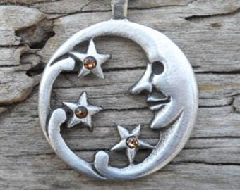 Pewter Moon Face and Stars Lunar Celestial Pagan Pendant with Swarovski Crystal Gold Topaz or Citrine NOVEMBER Birthstone (39E)