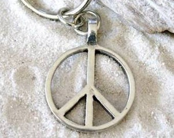 Pewter Peace Sign Love Hippie Yoga Namaste Meditation Keychain Key Ring (57G-KC)