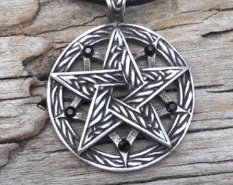 Pewter Double Pentagram Celtic Pagan Pentacle Pendant with Swarovski Black Onyx Crystal (56I)