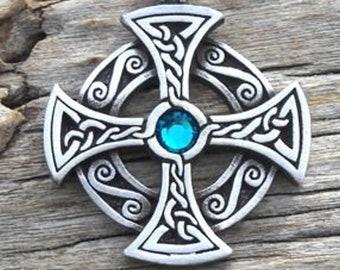 Pewter SOLAR CROSS Swarovski Crystal Celtic Druid Irish Blue Topaz DECEMBER Birthstone Pendant