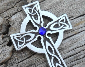 Pewter Celtic Cross Irish Wales Pendant with Swarovski Crystal Sapphire Blue SEPTEMBER Birthstone (300)