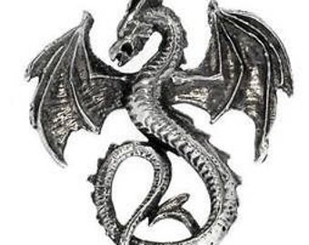 Pewter Dragon Gothic Fantasy Pendant on Leather or Cotton Cord (52G)
