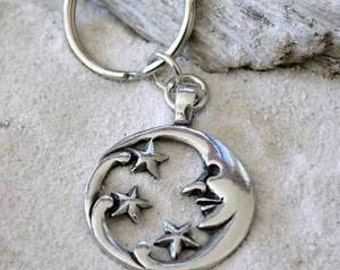 Pewter Moon Face and Stars Lunar Celestial Pagan Keychain (39E)