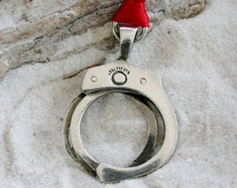 Pewter Handcuffs Hand Cuff Christmas Ornament and Holiday Decoration (56D)