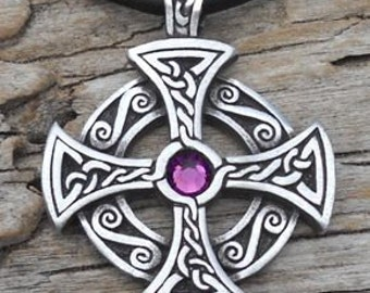 Pewter SOLAR CROSS Swarovski Crystal Celtic Druid Irish Purple Amethyst FEBRUARY Birthstone Pendant