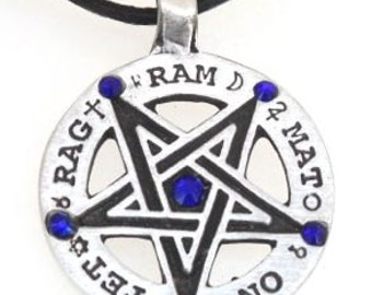 Pewter Inverted Pentagram Tetragrammaton Runes Pendant with Swarovski Crystal Sapphire Blue SEPTEMBER Birthstones (55C)