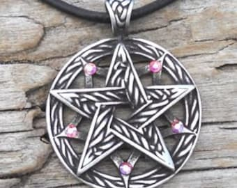 Pewter Double Pentagram Celtic Pagan Pentacle Pendant with Swarovski Crystal Aurora Borealis APRIL Birthstone (56I)