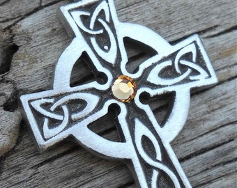 Pewter Celtic Cross Irish Wales Pendant with Swarovski Crystal Gold Topaz NOVEMBER Birthstone (300)