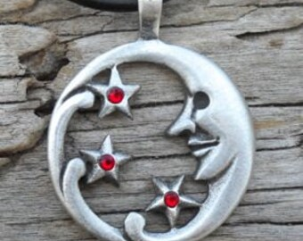 Pewter Moon Face and Stars Lunar Celestial Pagan Pendant with Swarovski Crystal Ruby Red JULY Birthstone (39E)