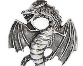 Pewter Dragon Fantasy Magical Gothic Pendant on Leather or Cotton Cord (23G)