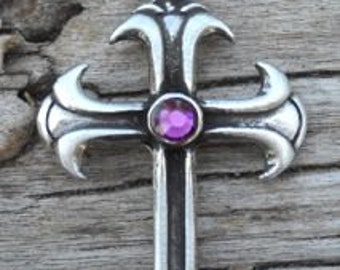 Pewter Cross Christian Gothic Pendant with Swarovski Crystal Purple Amethyst FEBRUARY Birthstone (302)
