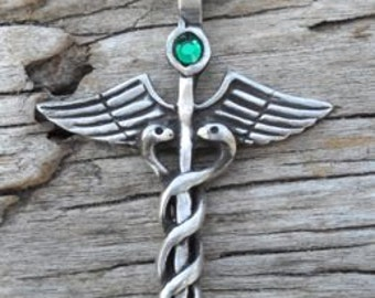 Pewter Caduceus Medical Nurse RN DR Snake Rod Pendant with Swarovski Crystal Emerald Green MAY Birthstone (35A)