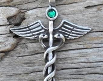 Pewter Caduceus Medical Nurse RN DR Snake Rod Pendant with Swarovski Crystal Emerald Green MAY Birthstone (35A)